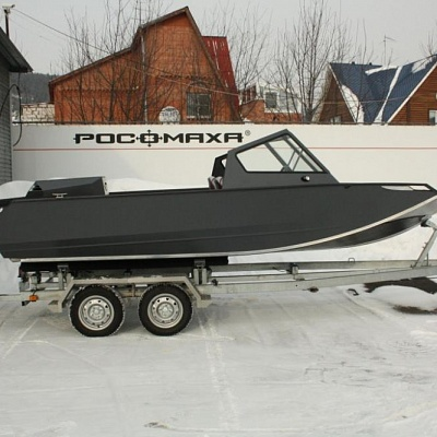 Boat trailer (biaxial) for aluminum water jet boat (motor boat, water jet boat) Rosomaha