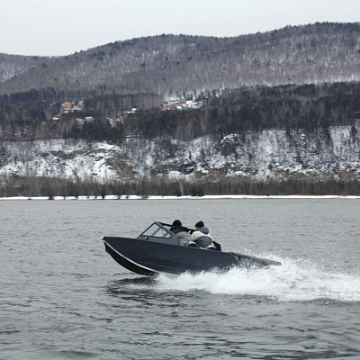 Test drive of aluminum water jet boat Rosomaha