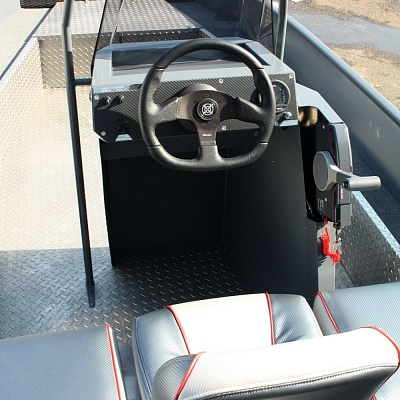 Steering wheel, gas reverse (control post) aluminum motor boat Rosomaha, aluminum boat for outboard motor of Russian production