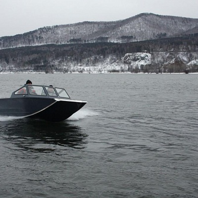 Test drive of aluminum water jet boat (motor boat, water jet boat) Rosomaha with water jet engine (motor)