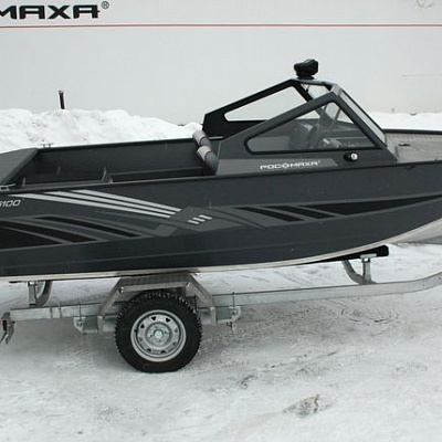 Boat trailer (uniaxial) for aluminum water jet boat (motor boat, water jet boat) Rosomaha R5100 with engine (motor)