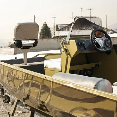 Steering wheel, gas reverse (control post) aluminum boat (motor boat, water jet boat) Rosomaha with water jet engine (motor)