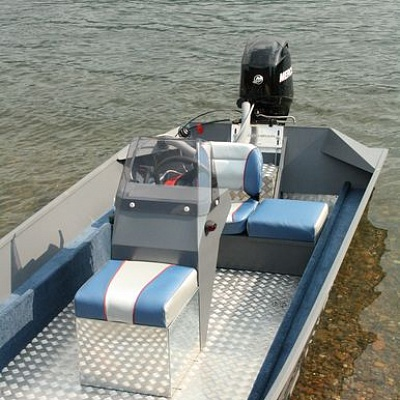 Design (corrugated aluminum, finishing) of aluminum boat (motor boat, water jet boat) Rosomaha with outboard water jet engine
