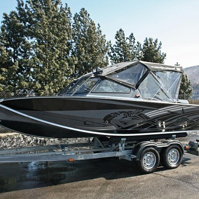 Boat trailer(biaxial) and parking tent for aluminum water jet boat (motor boat, water jet boat) Rosomaha with water jet engine (motor)