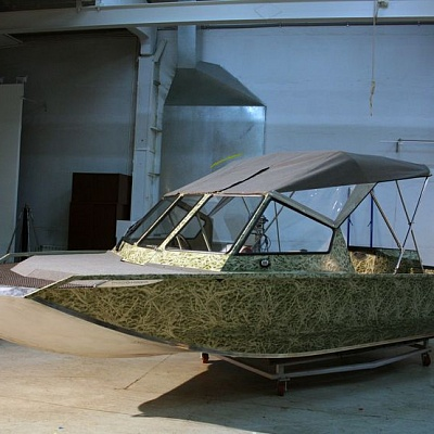 Tent (folding) of aluminum water jet boat Rosomaha
