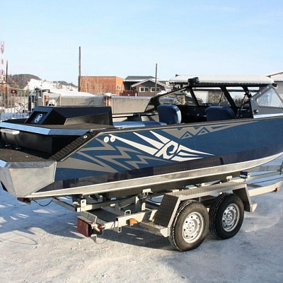 Boat trailer (biaxial) for aluminum water jet boat Rosomaha with engine