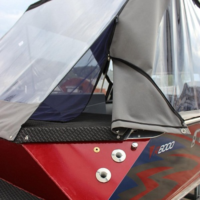 Tent (design, finish) for aluminum water jet boat (motor boat, water jet boat) Rosomaha with water jet engine (motor)
