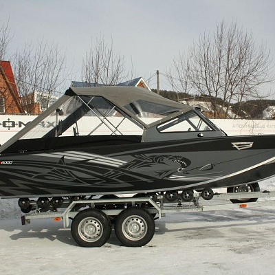 Boat trailer (biaxial) and tent for aluminum water jet boat (motor boat, water jet boat) Rosomaha with engine (motor)